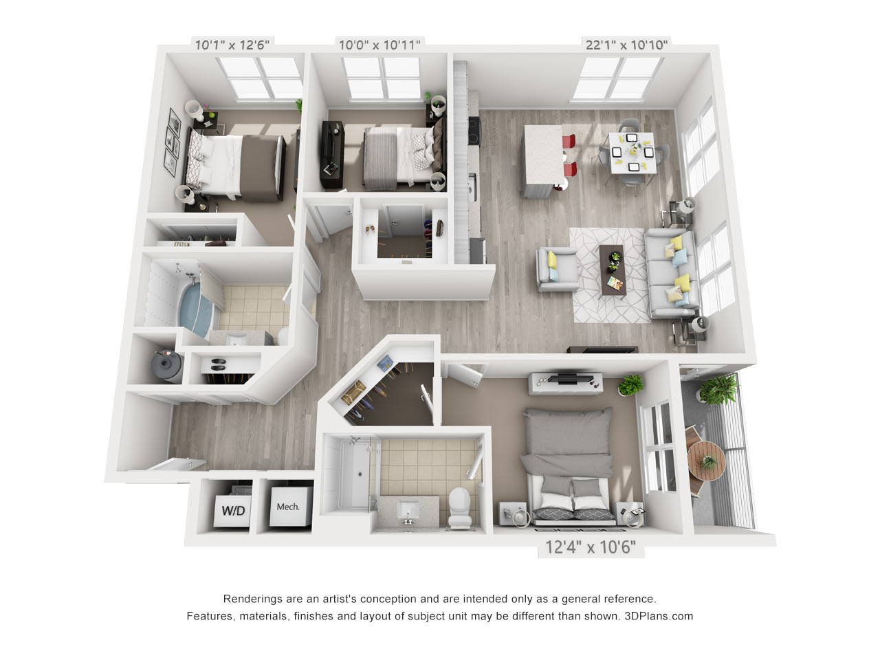 D1 3 BEDROOM/2 BATH Floor Plan 7