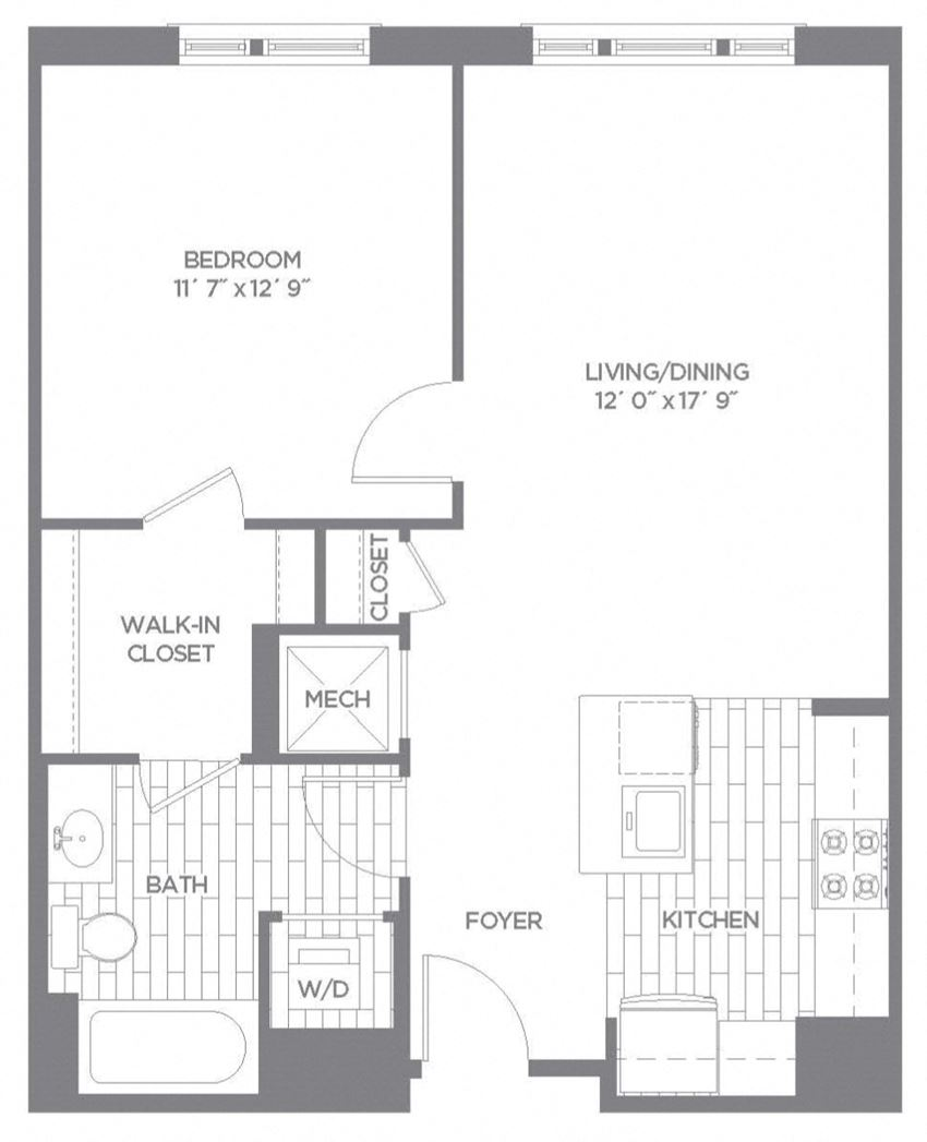 Floor plan at The Asher, Alexandria, VA, 22314