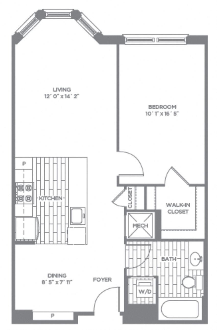 Floor plan at The Asher, Alexandria, VA