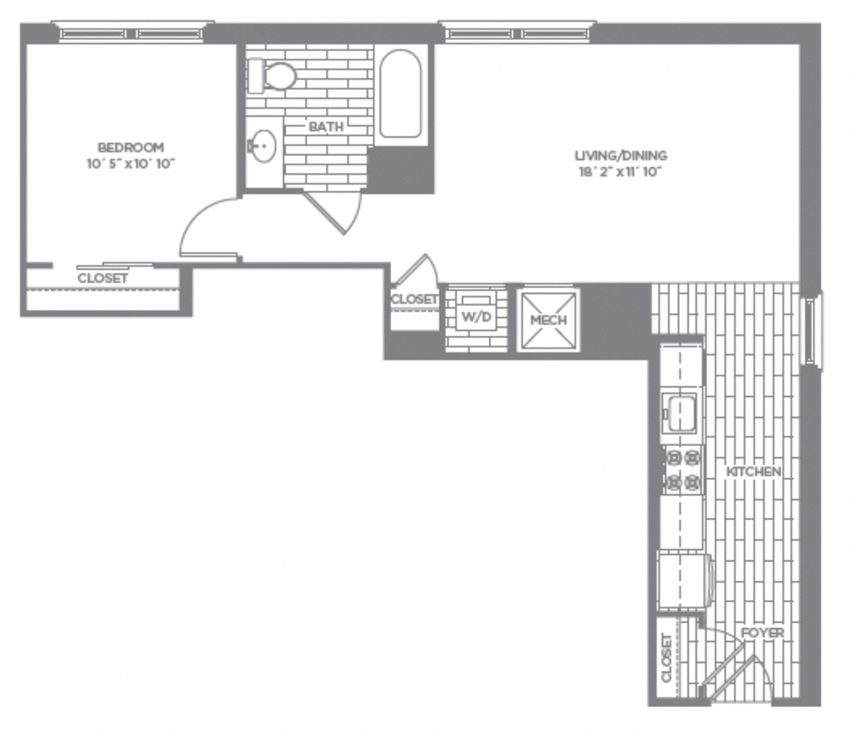 Floor plan at The Asher, Alexandria, Virginia