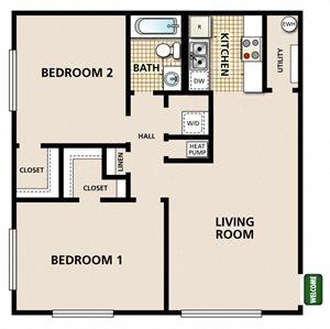 2 Bedroom 1 Bathroom A