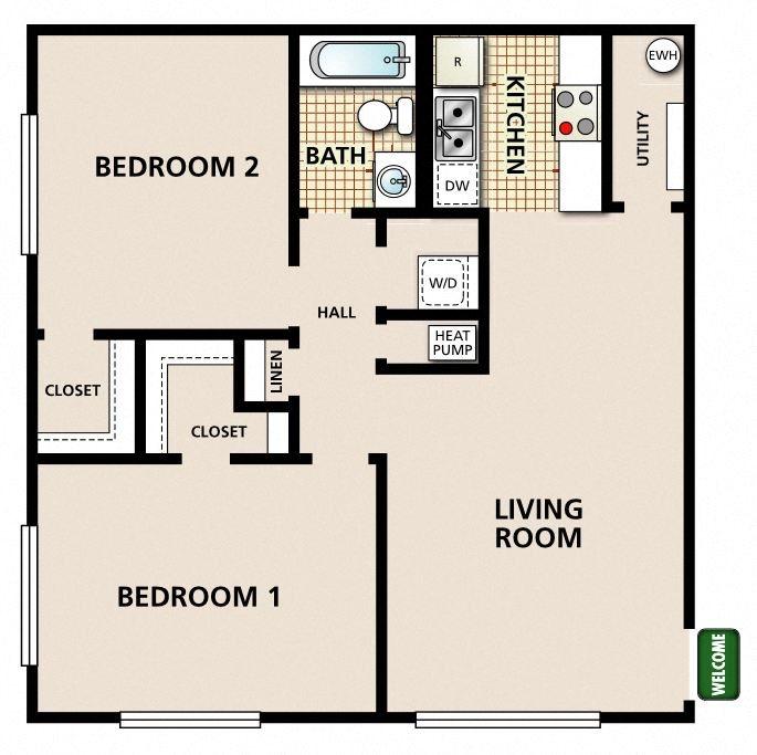 2 Bedroom 1 Bathroom A Floor Plan 3