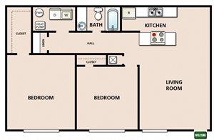 2 Bedroom 1 Bathroom B