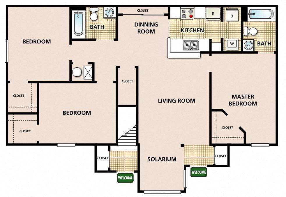 3 Bedroom 2 Bathroom Floor Plan 5