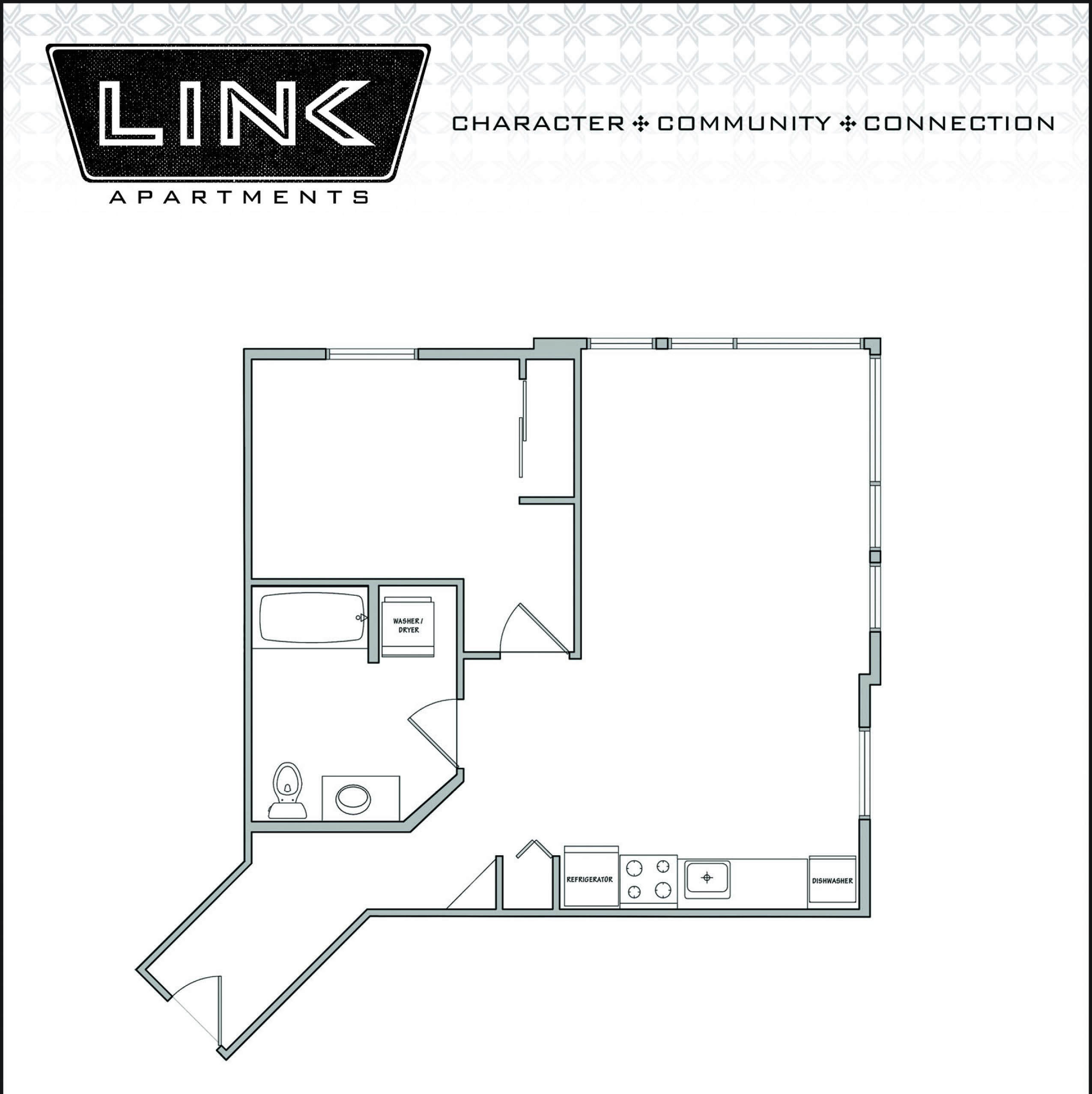 Floorplan at Link Apartment Homes, 4550 38th Avenue SW, WA