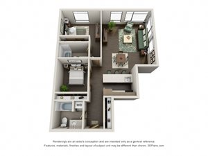 Traditional 2bd 2ba Floor Plan at at Link, Seattle