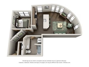 Traditional 1bd 1ba Floor Plan at Link, Seattle, WA, 98126