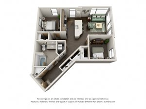 Traditional 2bd 1ba-B Floor Plan at Link, Washington