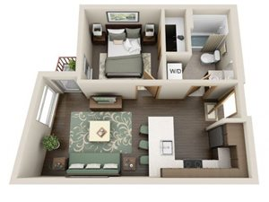 Traditional 1bd 1ba - A Floor Plan at Link Apartment Homes, Seattle, 98126