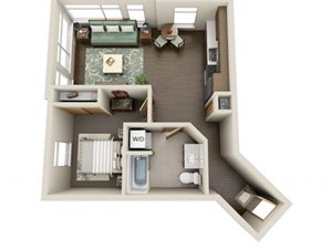 Traditional 1bd 1ba - C Floor Plan at Link Apartment Homes, 4550 38th Avenue SW, WA