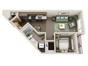 Traditional 1bd 1ba - D Floor Plan at Link Apartment Homes, Washington, 98126