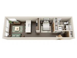 Urban 1bd 1ba - B Floor Plan at Link Apartment Homes, CA, 98126