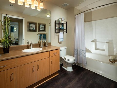 Large bathroom with deep soaking tubs at ALARA Links at Westridge Apartment Homes, CA, 91381