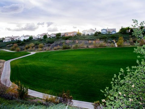 Well manicured greens at ALARA Links at Westridge Apartment Homes, Valencia, California