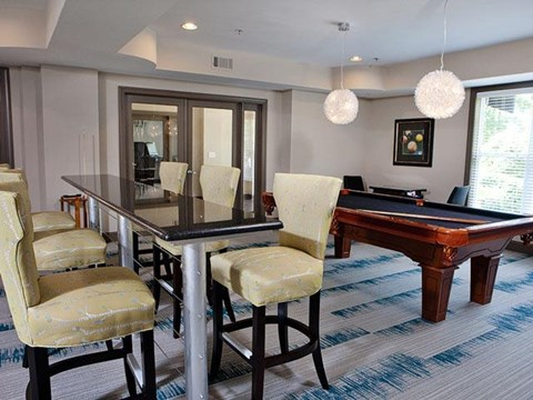 Dinning Area With Pool Table at Weston Lakeside Apartments, NC, 27513