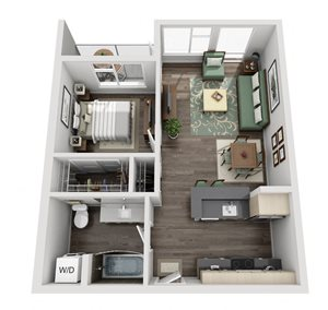 Traditional 1bd 1ba - B Floor Plan at Mural, Seattle, Washington