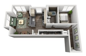 Traditional 1bd 1ba - C Floor Plan at Mural, Seattle