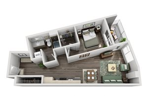 Traditional 1bd 1ba - D Floor Plan at Mural, Washington