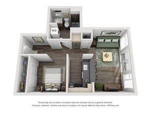 Studio Floor Plan at Mural, Seattle, WA, 98116