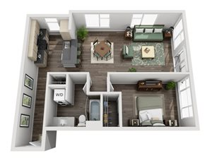 Traditional 1bd 1ba - A Floor Plan at Mural, Seattle, 98116