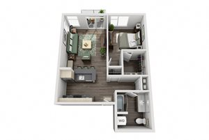 Traditional 1bd 1ba - E Floor Plan at Mural, Washington, 98116
