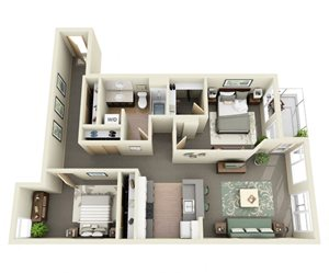 Traditional 2bd 1ba - A Floor Plan at Mural, Seattle