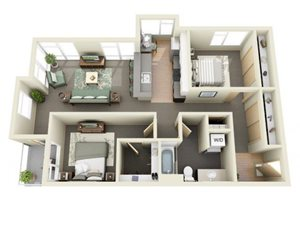 Traditional 2bd 1ba - B Floor Plan at Mural, Washington