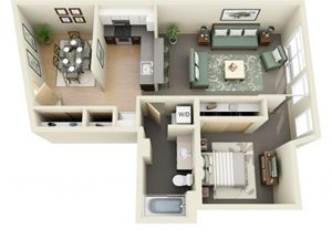 1Bed Den Floor Plan at Mural, Washington