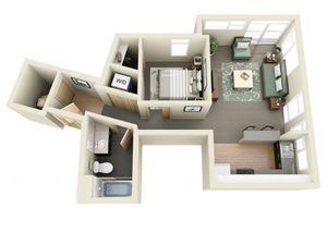 Traditional 1bd 1ba - F Floor Plan at Mural, Washington, 98116