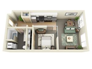 Urban 1bd 1ba - B Floor Plan at Mural, Seattle, WA, 98116