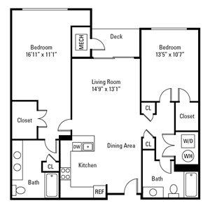 2 Bedroom, 2 Bath 1,120 sq. ft. (Carnegie)