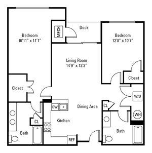 2 Bedroom, 2 Bath 1,120 sq. ft. (Carlton - ADA)