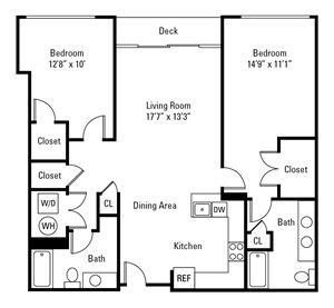 2 Bedroom, 2 Bath 1,128 sq. ft. (Washington)