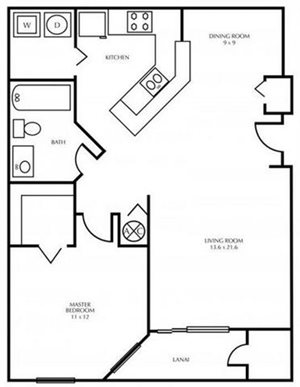 A1-ONE BEDROOM Floorplan at The District at Clearwater