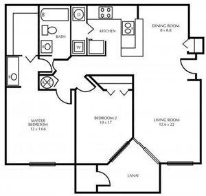 B1-TWO BEDROOM Floorplan at The District at Clearwater