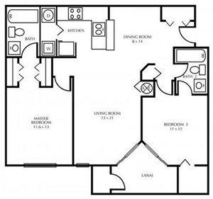 B2-TWO BEDROOM Floorplan at The District at Clearwater