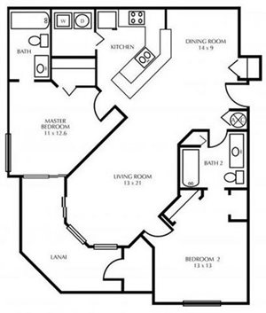 B3-TWO BEDROOM Floorplan at The District at Clearwater