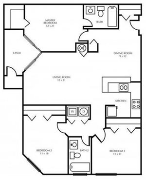 C1-THREE BEDROOM Floorplan at The District at Clearwater