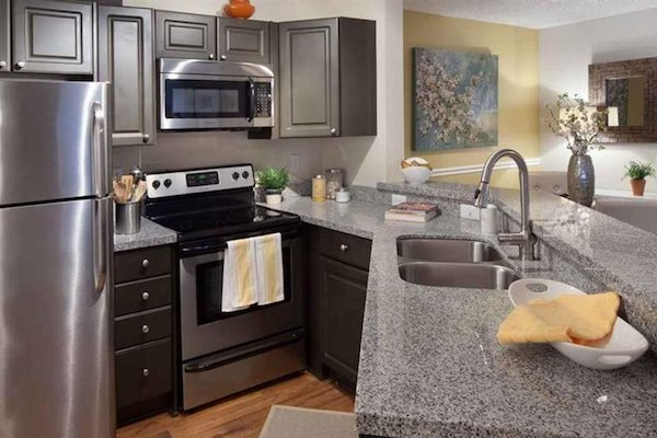 granite countertops in gourmet kitchens at The District at Clearwater, Clearwater, FL, 33759