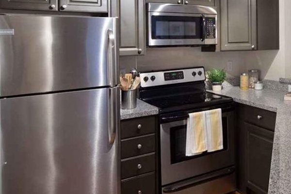 Sleek, stainless-steel appliance package at The District at Clearwater, Clearwater, FL, 33759