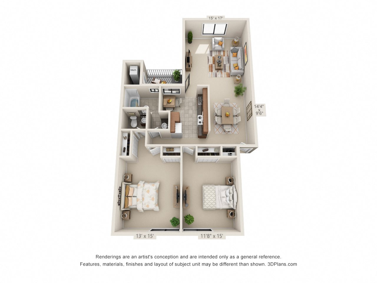 2 Bedroom Upgrade Floor Plan 6