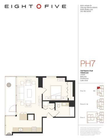A1PH Floor Plan at Eight O Five, Chicago, 60610