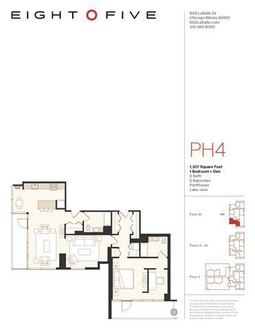 A7PH Floor Plan at Eight O Five, Illinois