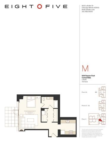 Convertible 2 With Terrace Floor Plan  at Eight O Five, Chicago, IL, 60610