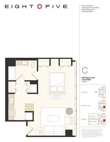 Convertible 1 Floor Plan at Eight O Five, Chicago, IL