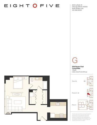 Convertible 2 Floor Plan at Eight O Five, Chicago, 60610