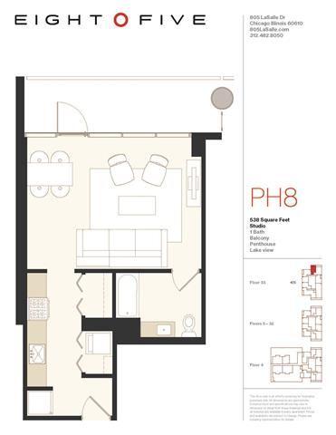 Studio1PH Floor Plan at Eight O Five, Chicago, 60610