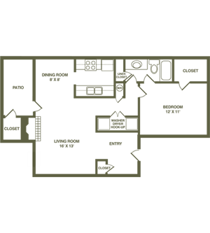 Timberland Floor Plan featuring one bedroom and one bathroom at Timber Hollow Apartments in Fairfield, OH