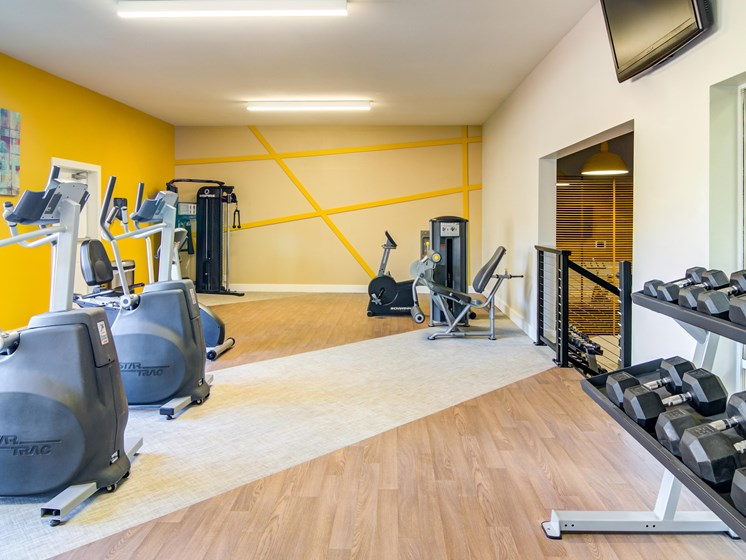 fitness center- free weights, weighted machines, cardio machines