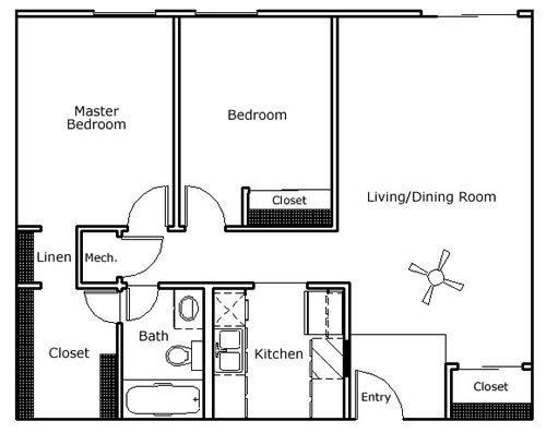 2 BR/1 BA Floor Plan 2